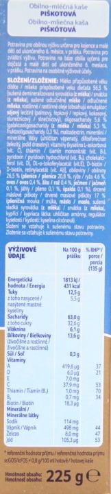 Složení Nutrilon Pronutra obilno-mléčná kaše piškotová
