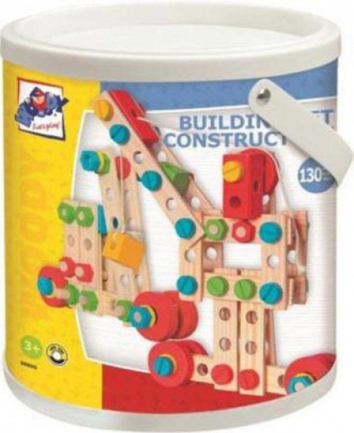Woody Montážní stavebnice v kyblíku Constructor, 130 dílů