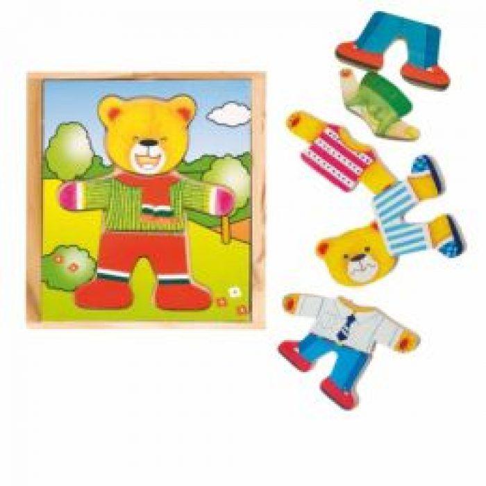 Woody Puzzle šatní skříň Medvídek, 18 dílů