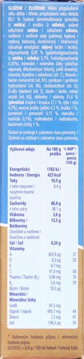 Složení a výživové hodnoty mléčná krupicová kaše Nutrilon s ovocem