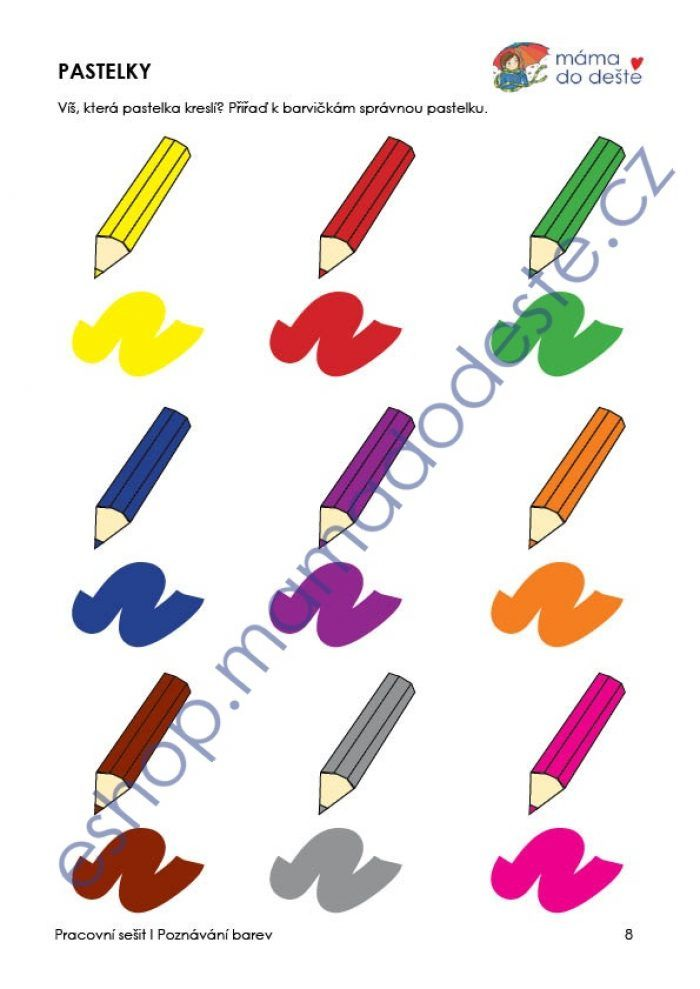 Pracovní sešit procvičování barev