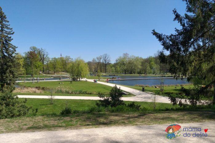 Výhled na rybníky ve Stromovce.