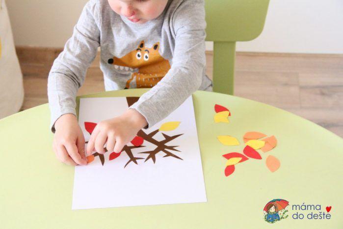 Lepený papírový podzimní strom s listy (od 2 a tři čtvrtě let)