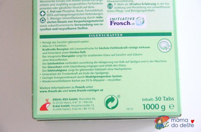 Frosch EKO Tablety do myčky vše v1 Citron