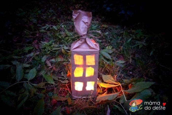 Lampion z krabice od mléka - zdrojové světlo svíčka