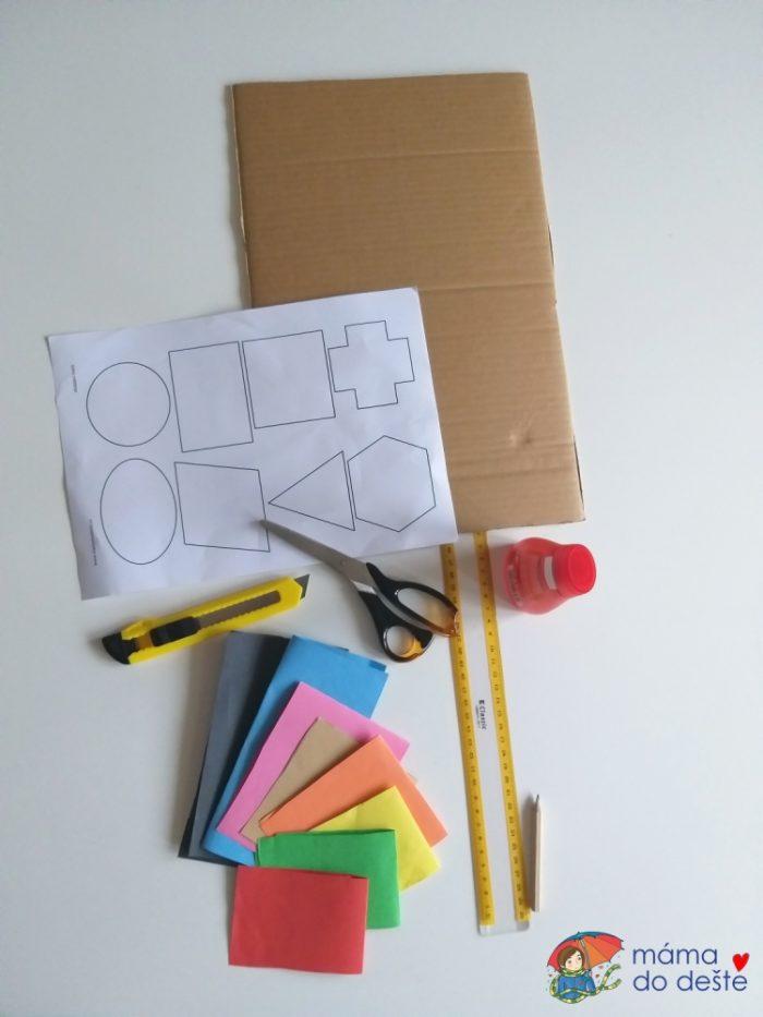 K vyráběná budete potřebovat krabici, barevné papíry, čtvrtku, lepidlo.