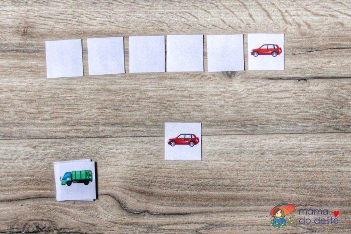 Paměťová hra: Pamatuješ si, pod kterou kartičkou se schovává auto?