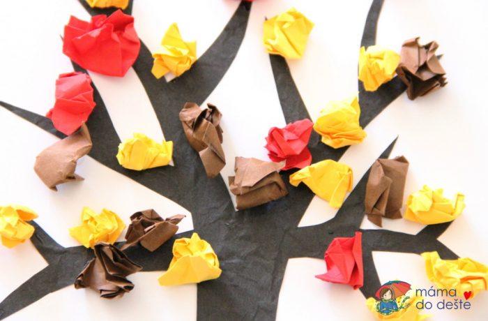 Lepený papírový podzimní strom skuličkami (od 2 atři čtvrtě let)