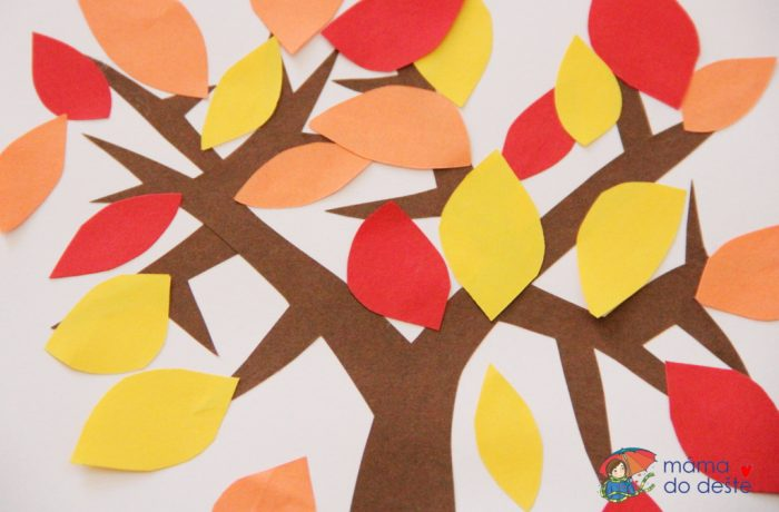 Lepený papírový podzimní strom slisty (od 2 atři čtvrtě let)