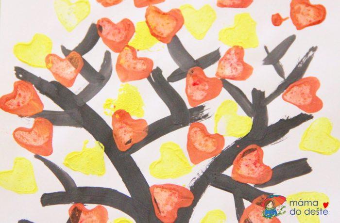 Kreslený podzimní strom štětcem arazítky (od 3 let)