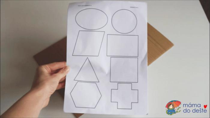 Geometrická vkládačka krok za krokem: Předloha tvarů.
