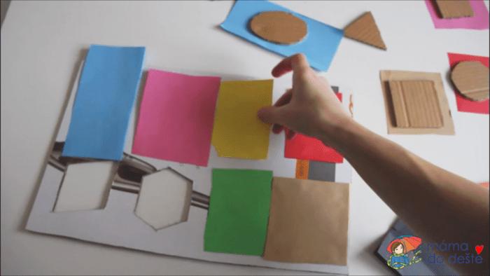 Geometrická vkládačka krok za krokem: LEpení barevných papírů na podklad a tvary.