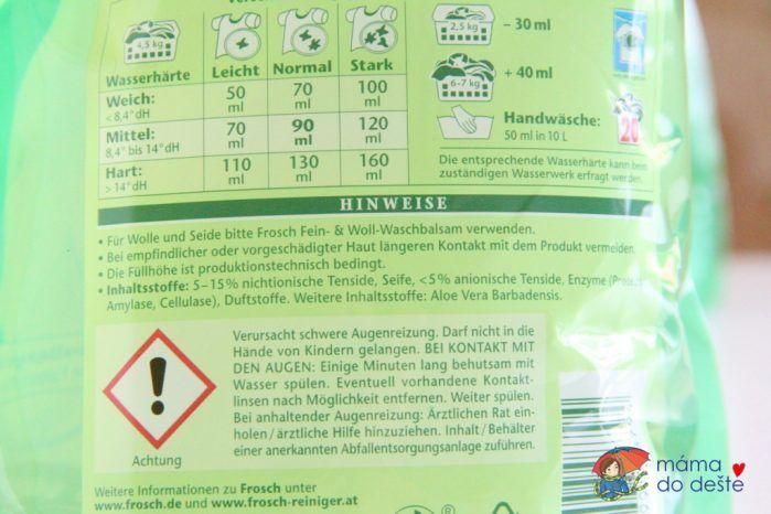 Prací gel Frosch - složení