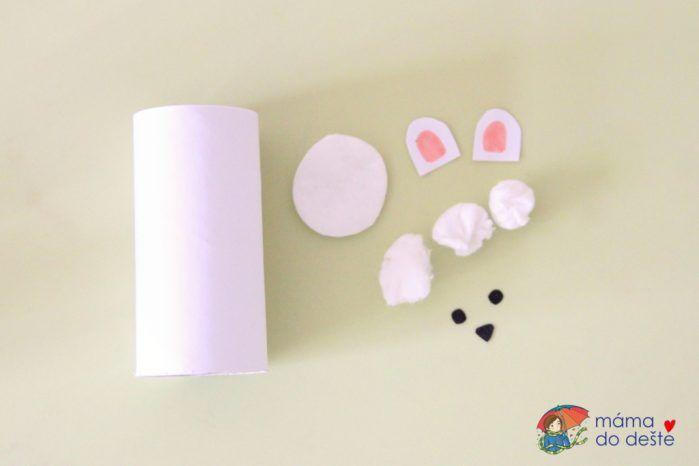 Tučňák a lední medvěd, zimní zvířátka z ruliček od toaletního papíru