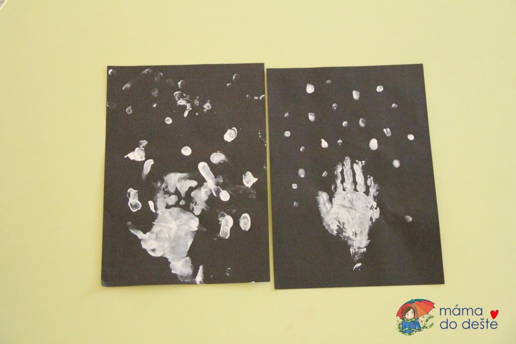 Zimní strom z otisků ruky a prstů