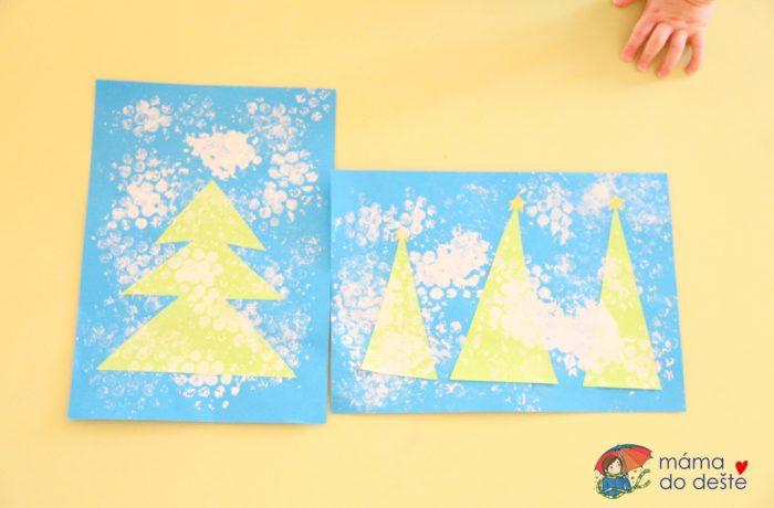 Zimní strom zotisků bublinkové folie