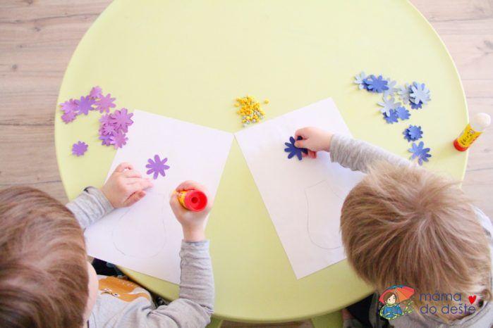 Jarní 3D obraz z kartonu: Květiny ve váze (od 2,5+)