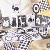 Černobílé kontrastní kartičky pro novorozence online + PDF zdarma