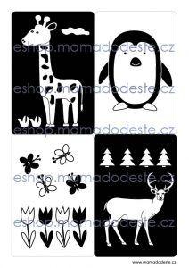 Černobílé kartičky pro novorozence v PDF