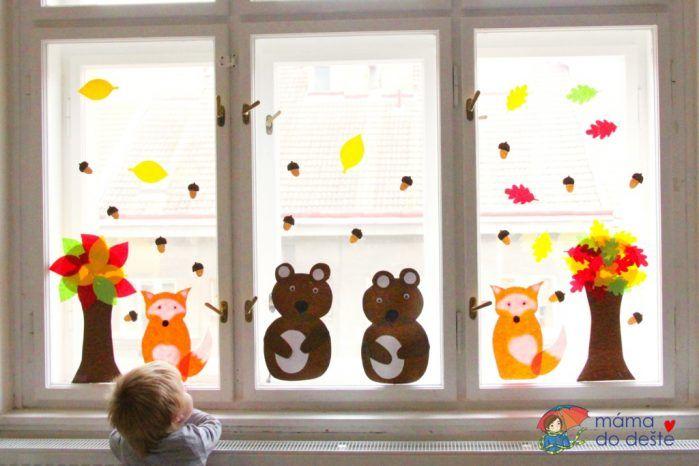 DIY podzimní dekorace na okno: Lesní zvířátka a stromy