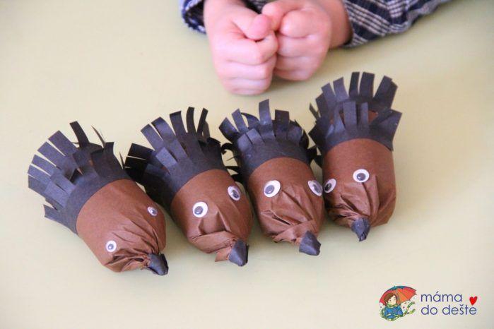 DIY ježci z ruliček od toaletního papíru