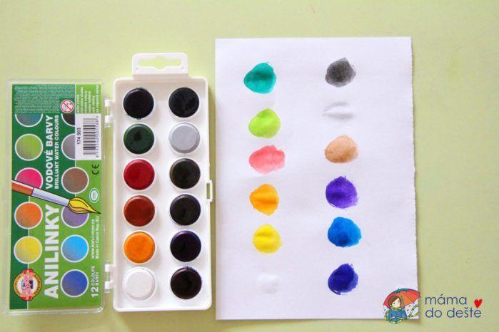 Test vodových barev Anilinky Koh-i-Noor