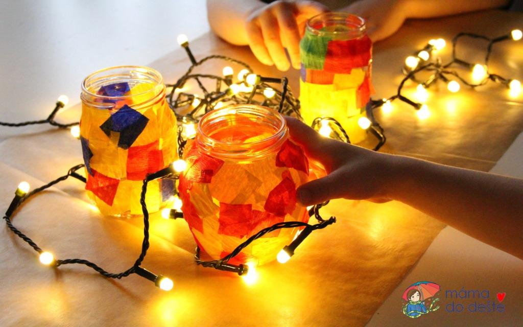 DIY lampionky ze sklenice od marmelády