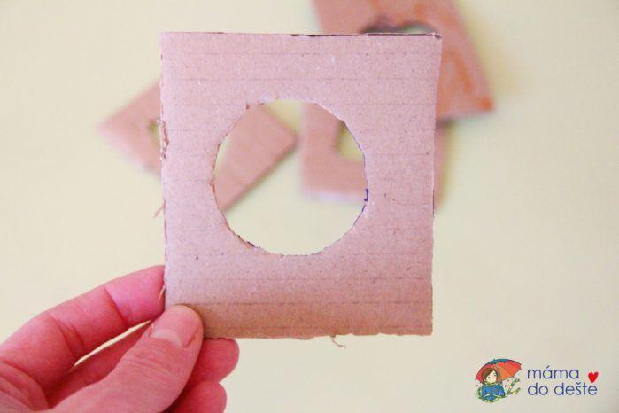 Grafomotorika: Šablon k obkreslení ze zbytků krabice