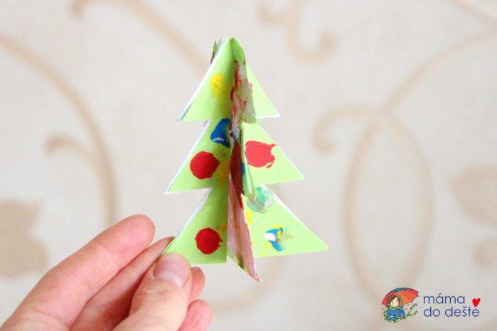 3D ozdoby na stromeček z krabice od bot a barevného papíru