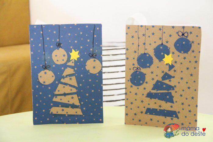 DIY vánoční přání pro nejmenší z balicího papíru nebo temper