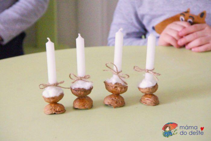 DIY svícínek z ořechové skořápky