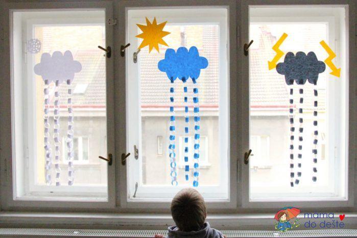 DIY dekorace na okna mraky (lepení řetězů)