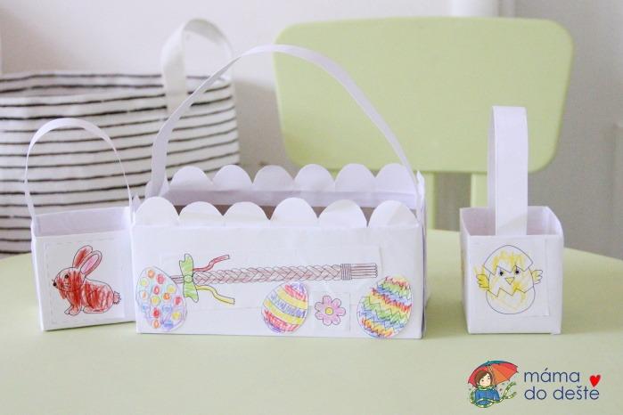 DIY velikonoční košíčky z krabiček od čaje a papírových kapesníků + omalovánky v PDF zdarma