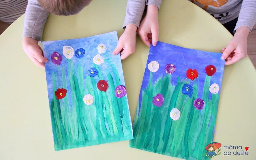 Jarní louka: Tip na tvoření pro děti temperou a korkem