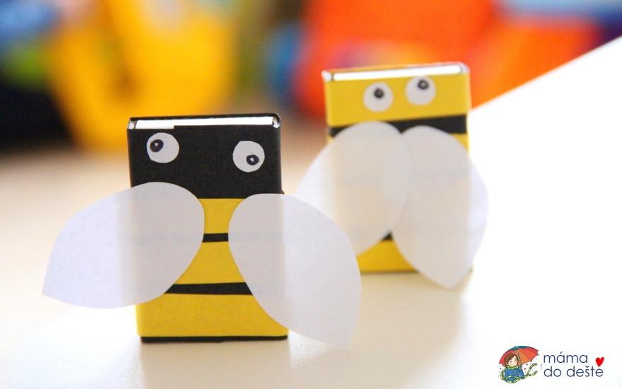 DIY ozdobné krabičky včelka z krabičky od sirek