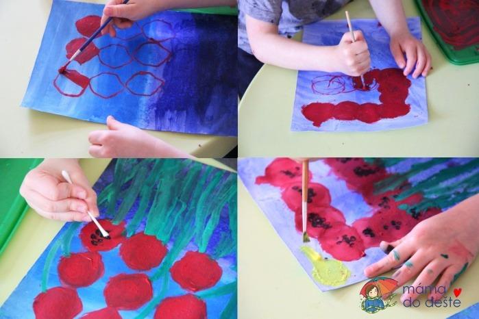 Malujeme temperou: Letní louka plná vlčích máků