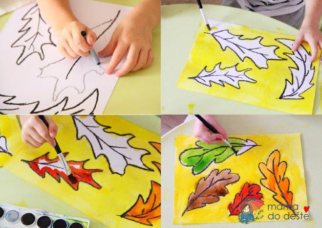 Barevné podzimní listy: Snadné vybarvování pro děti
