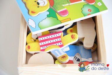 První skládání: Woody Puzzle šatní skříň Medvídek 18 dílů