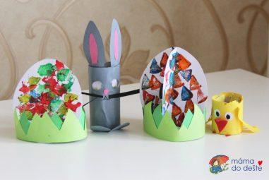"""Vyrábíme doma: Velikonoční papírové """"stojící"""" dekorace (zajíček, kuřátko avejce)"""